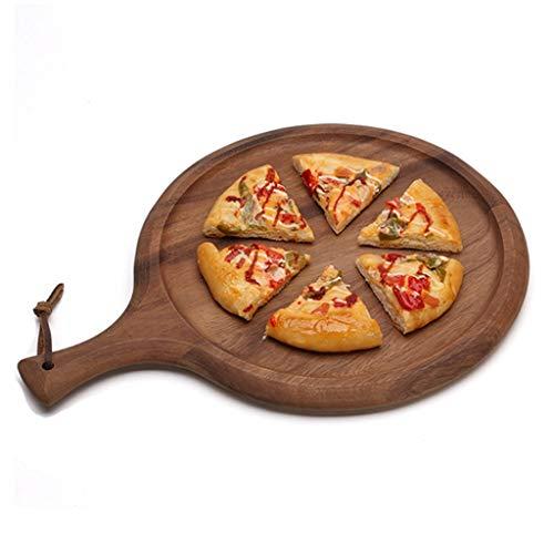 Pizza Horno Redondas Madera redonda Junta Pizza con la manija multi-uso Bandeja for servir pizza bandeja for hornear pizza de piedra Plato Tabla de cortar la torta de pizza for hornear Herramientas Mo
