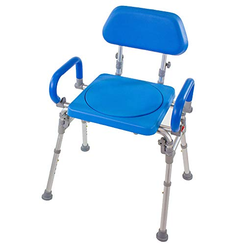 Folding Shower Chair with Rotating Swivel seat. Liberty Premium Padded Bath Chair with armrests and backrest by Platinum Health