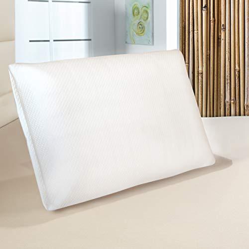 Orthopädisches Nackenstützkissen Bambuswisper | Memory Foam Kopfkissen 60 x 40 | Ergonomisches Bamboo Visco Kissen mit abnehmbarem Bezug für Rücken- & Seitenschläfer | Ideal bei Nackenschmerzen