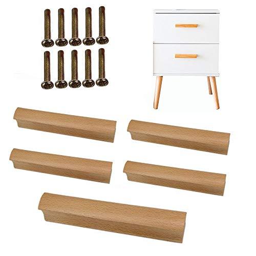 5 × Tornillo Fijo Mango de Madera Tamaños múltiples Cajón del gabinete Mango de Madera Maciza Color de Madera Mango pequeño Tirador para Muebles Tirador de Puerta de Madera (con Tornillos de Montaje