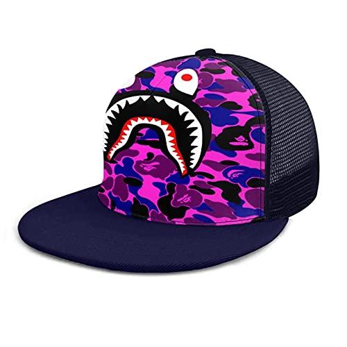 LAOLUCKY Bape - Gorra de béisbol con diseño de tiburón de sangre, color morado