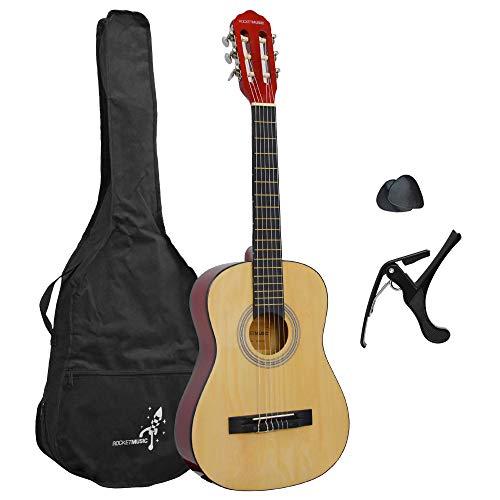 Fantástico paquete de la guitarra para principiantes Incluye capo, púa, correa de la guitarra y la bolsa Adecuada para niños de 5 - 7 años Guitarra clásica 1/2 para principiantes equipada con cuerdas de nylon