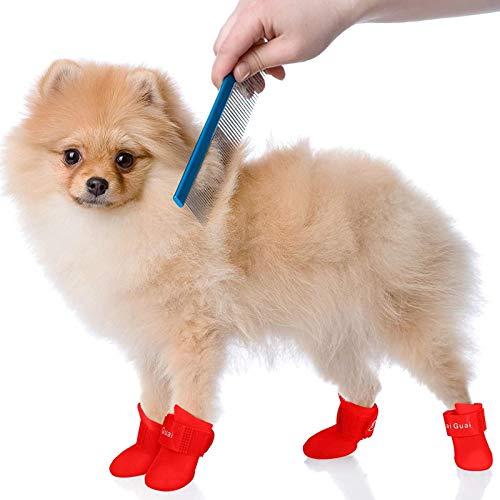 Otherway Hundeschuhe Pfotenschutz Silikon Wasserdicht Hundestiefel Anti-Rutsch Regenstiefel Haustierschuhe Für Kleine Und Mittlere Hunde Katze Welpen