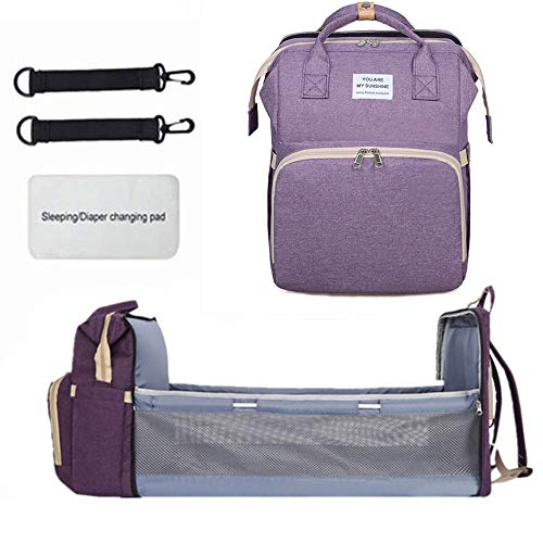 Portable Fodable Crib Diaper Bag Backpack, Waterproof Travel Bassinet Foldable Baby Bed, with Changing Station for Travel Bed Diaper Pad Stroller Organizer (Purple)
