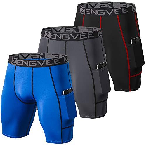 ZENGVEE 3 Piezas Pantalones Cortos Hombre Deporte de Secado Rápido para Running Hombres Deporte para Gym, Yoga, Running(Gray Black Blue-XL)