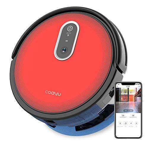 COAYU C560 Saugroboter mit Wischfunktion mit Panoramakamera, Fegen Saugen und wischen 3 in 1, Wifi App und Fernbedienung Steuerung, selbst-aufladen,für Fliesen, Teepiche, Holzböden usw.(Rot)