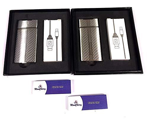 MontCherry Brand Exclusive Tips Packs und Silver Match Chigwell Elektronischer USB-Zünder/Feuerzeug in Geschenkbox, verschiedene Farben