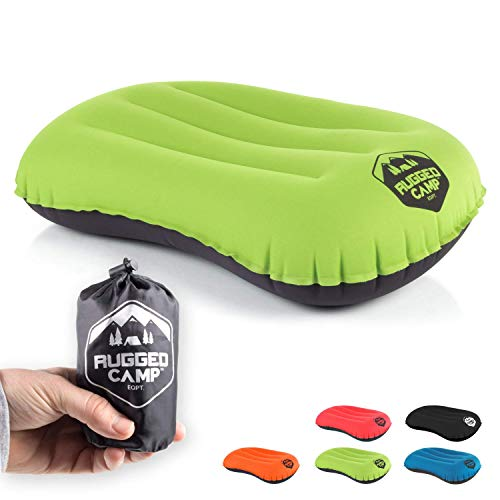 Camping Pillow - Inflatable Travel Pillows - Multiple Colors - Compressible, Lightweight, Ergonomic Head Neck Support Camping Plane Travel - Lumbar Back Support (Green/Black)