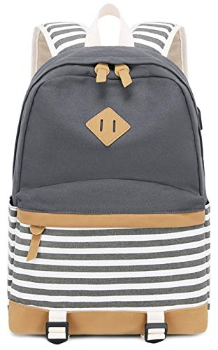 Canvas Travel Laptop Backpacks Womens College Backpack School Bag 15 inch USB Daypack Outdoor With Trolley Case Slot (Grey-A)