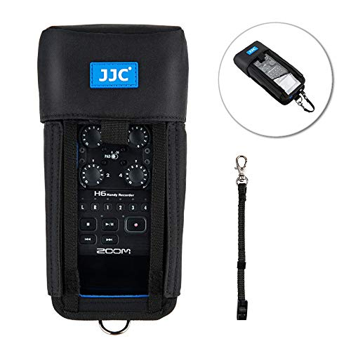 Handy Recorder Pouch JJC Portable Case Accessories for Zoom H6 with Hook & Loop Fasteners Design, Removable Mic Cover, Belt loop, Boom Pole Sleeve & D-ring