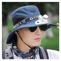BEIHUAN ファンハットソーラー冷却ファン釣り夏の屋外エアークーラーファン野球帽、漁師の男性の夏の太陽の帽子 夏に快適なクール (Color : Navy)