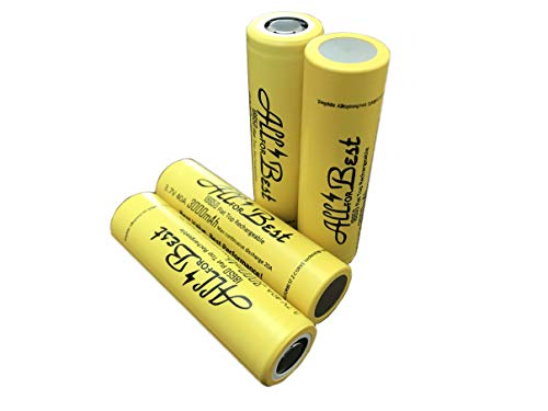 4 Pack of Flat Top ALLFORBEST 3000mAh, 3.7V 20A, High Drain, Rechargeable