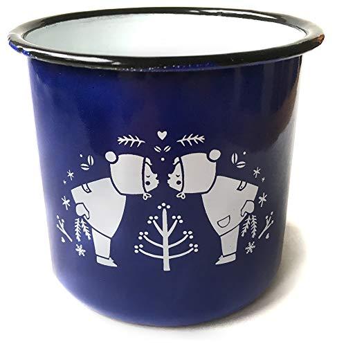Eine der Guten Emaille Tasse für Kinder und Erwachsene, Design Winterkinder, 350 ml, blau weiß, Kindertasse mit Retro Illustration, auch als Kaffeetasse, Campingtasse & Glühweintasse