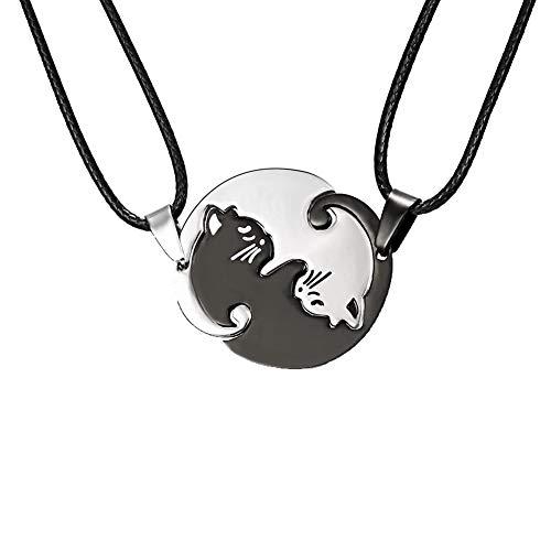 ISSHE Collar Ying Yang Gatos, Yin Yang Collares para Dos Mejores Amigas Pareja Joyas 2 Collar Acero Inoxidable Negro Redondo