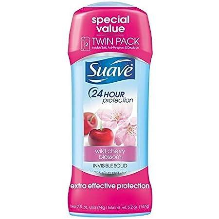 Suave Deodorant Antiperspirant & Deodorant Stick 24-hour Odor and Wetness Protection Wild Cherry Blossom Deodorant for Women 2.6 oz 2 Count