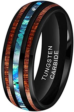 iTungsten 8mm Black Tungsten Rings for Men Women Wedding Bands Abalone Shell Koa Wood Inlay product image