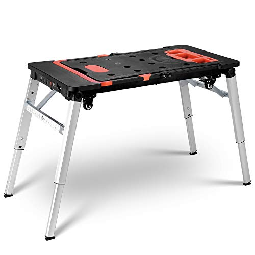FIXKIT 7-in-1 Portable Workbench, Multifunctional Folding Work Table Scaffold/Dolly/Platform with 4 Wheels for Garage