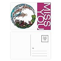蓮の葉のパターン形状の鯉 ポストカードセットサンクスカード郵送側20個ミス