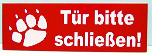 Torschild Rot Tor bitte schließen,12 x 4 cm Gravur Schild Hundeschild Hinweisschild