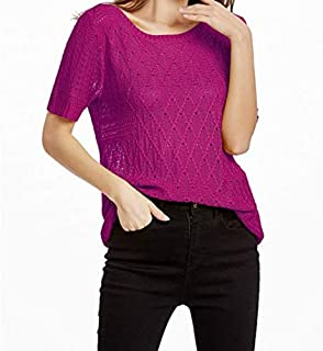 YKDY AU Summer Hollow Hooded Short-Sleeved Sweater T-Shirt, Size: L(Yellow) 2020 Fashion (Color : Rose Red)