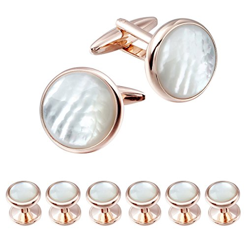 Mens Mother of Pearl Cufflinks and Dress Studs Set for Tuxedo Wedding Party