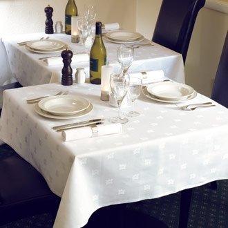 20 Restauration ce495 Nappe Damassé, motif feuille de lierre, 177,8 cm Blanc