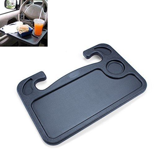 Steering Wheel Tray, EFORCAR Multi-Functional Steering Wheel Drink Food Table Car Laptop Mount Stand Notebook Desk- for a More Convenient Time in Your Car - 1PCS Black