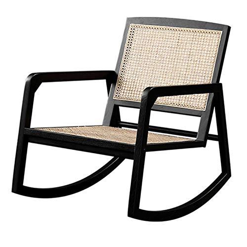 XLSQW Bequeme Schaukelstuhl Lehnstuhl Entspannen Sie Sich, Rattan Solid Oak Patio-Möbel Gartenstühle Lounge Chair Alle Holzrahmen, für Indoor Outdoor Office Home