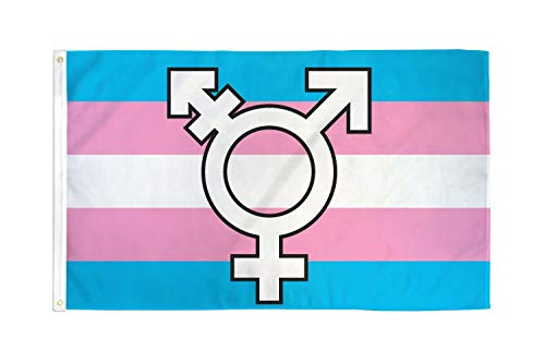AZ FLAG Bandera Arco Iris TRANSGENERO con SIMBOLO 150x90cm - Bandera Arcoiris - Rainbow 90 x 150 cm poliéster Ligero
