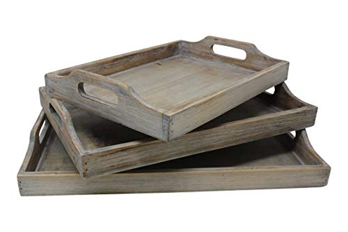 Vintage Rustic Torched Wood Country Nesting Breakfast Trays – White Washed Tray Set For Serving...