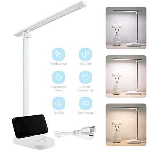 Unipampa Lámpara Escritorio LED, Lámparas de Mesa USB Recargable con 3 Modos de Colores y 3 Niveles de Brillos, Plegable de Escritorio Control Táctil, Protege a Ojos, para Estudio, Oficina (Blanco)
