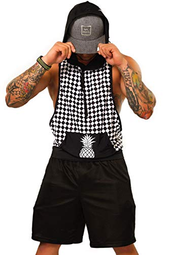Checkerboard Rave Hooded Tank Top – Mens EDM Festival Athletic Clothing Gym 2020