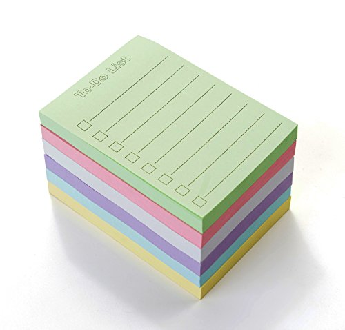 """EHME Super Sticky Notes 3"""" x 4"""", Things to Do List Notepad, Easy Post Lined Notes,Planner Stickers 6 Pad/Pack, 100 Sheet/Pad, Six Colors."""