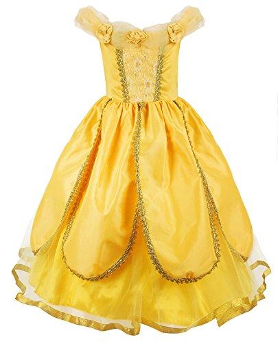 JerrisApparel Costume da Principessa Belle Deluxe Vestito da Festa Fantasia Le Ragazze Si Vestono (Giallo 1, 5 Anni)