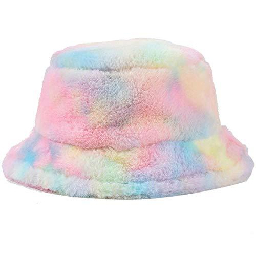 ZHENQIUFA Sombrero Pescador Gorras Sombrero De Cubo De Invierno para Mujer, Gorra De Pesca Cálida Suave con Arcoíris A La Moda, Sombrero De Vacaciones Al Aire Libre, Señora Tie Dye Panamá