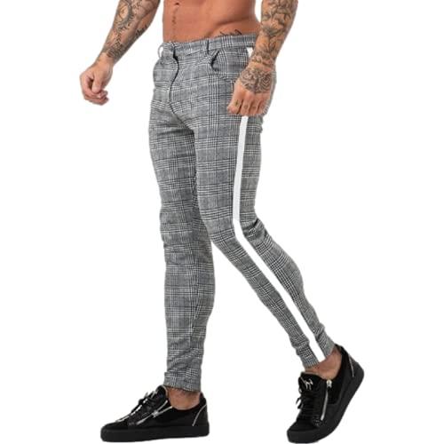 Pantalones Casuales para Hombre Pantalones Casuales Estampados a Cuadros de Moda de Calle Europea y Americana...