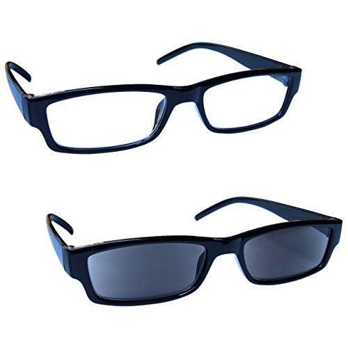 The Reading Glasses Company Die Lesebrille Unternehmen Schwarz Leicht Leser Mit UV400 Sonne Leser Wert Doppelpack Herren Frauen RS32-1 +1,50