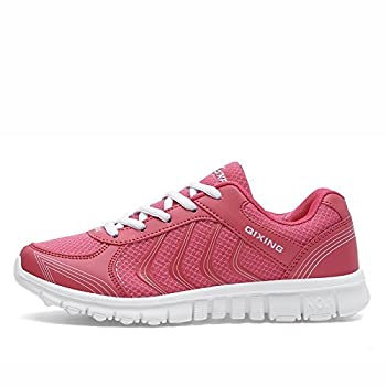 DUOYANGJIASHA Women s Athletic Road Running Mesh Breathable Casual Sneakers Lace Up Comfort Sports Student Fashion Tennis Shoes Rose Red