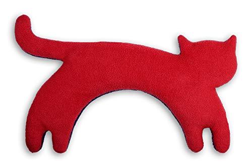 CUSCINO RISCALDABILE Leschi per la pancia e la schiena Per collo, cervicale e coliche dei neonati Per microonde, con semi di grano Minina la gatta, rosso nero