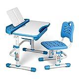 SIMBR Kids Desk and Chair Set, Height Adjustable Student Study Desk for Home Schooling with Storage Drawer, 180°Bookshelf, 55°Tilted Desktop, Metal Hook, Durable Dual-Layer Backrest