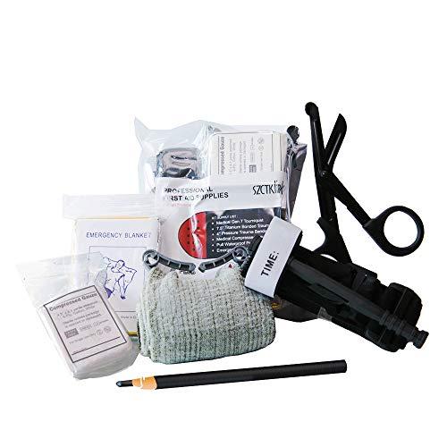 Emergency Survival Trauma Kit, Medical First Aid Kit - SZCTKlink Tourniquet, Updated Version Emergency Blanket, Titanize Trauma Shears, Trauma Bandage, Compressed Gauze, Waterproof Carbon Pencil