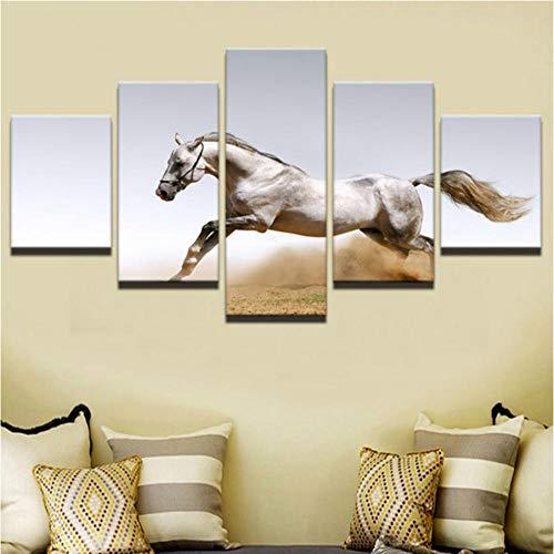Gtfzjb Moderne Frames voor het schilderen Modulaire Goedkope Afbeeldingen 5 Panel Animal Horse Wall Art voor Woonkamer Home Decor Artwork Canvas Prints