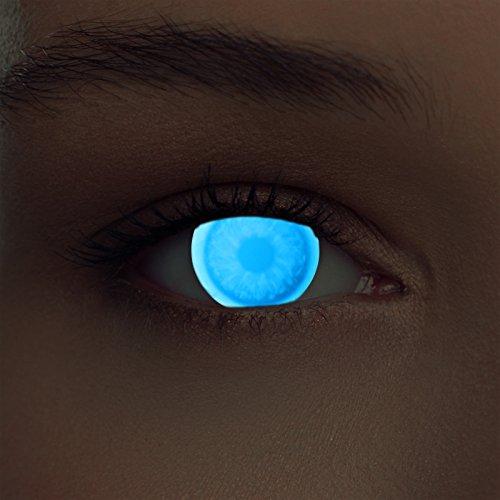 Blaue leuchtende Schwarzlicht Kontaktlinsen (Bei Tag unsichtbar) Neon Kontaktlinsen in blau (Glowing invisible Blue)