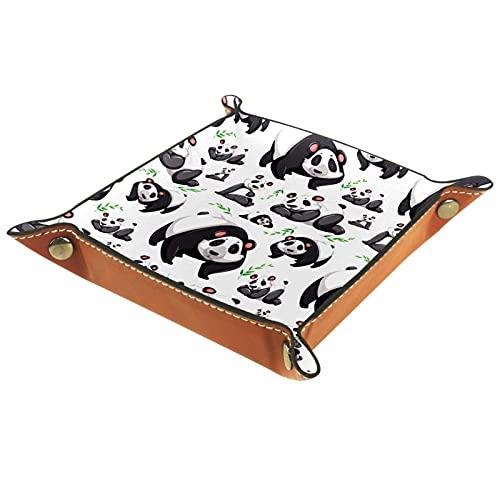 Bandeja de bambú con diseño de panda de cuero, bandeja de noche, organizador de joyas para hombres