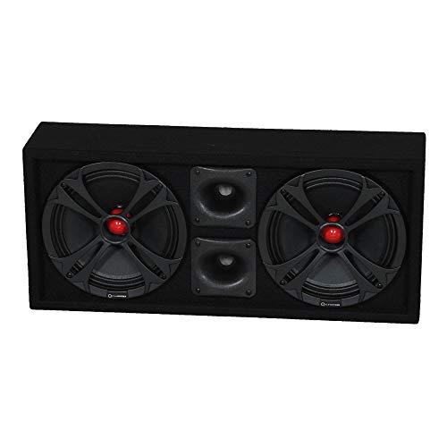 Q Power Chuchero Dual Pre Loaded 10 Inch Speaker Sub Box Enclosure w/ 2 Tweeters