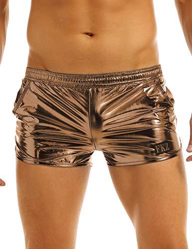 FEESHOW Men's Shiny Metallic Boxer Shorts Swim Trunks Swimsuit Lounge Underwear Coffee Medium
