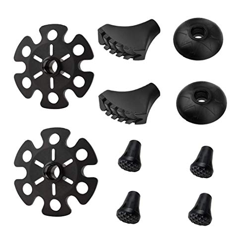 Hiking Walking Sticks Rubber Tips 10 Pack, Replacement Tips Protectors, Snow Baskets, Mud Baskets Set for Trekking Poles, Fits Most Standard Hiking, Trekking, Walking Poles
