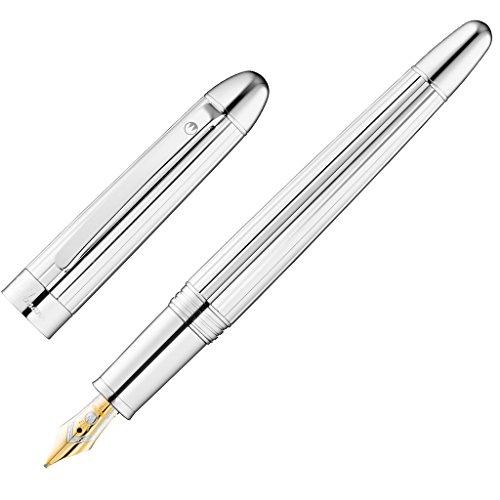 Waldmann Füllhalter Précieux, silber / Liniendesign, Sterling Silber, 18Kt. Goldfeder: M mittel
