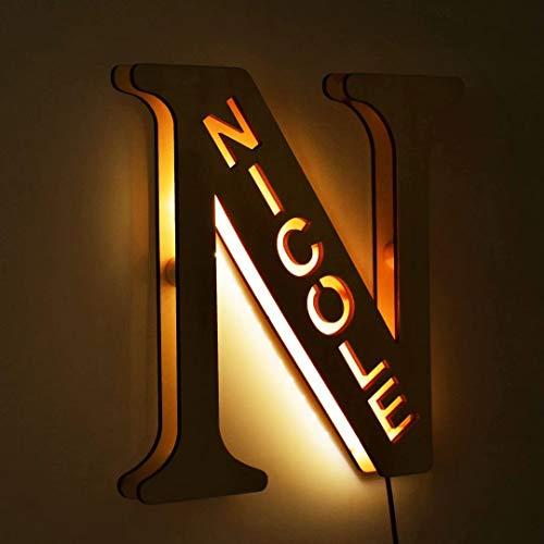Luces LED de decoración personalizada, luz de pared con nombre grabado en madera personalizado, 26 letras del alfabeto...