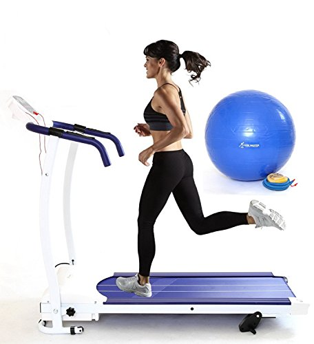 Gym Master 2016 1100W Motorised Treadmill 12KMH MODEL WITH FREE GYM BALL Super Compact Folding Exercise Equipment – Fitness Electric 1.5hp Home Gym in Blue